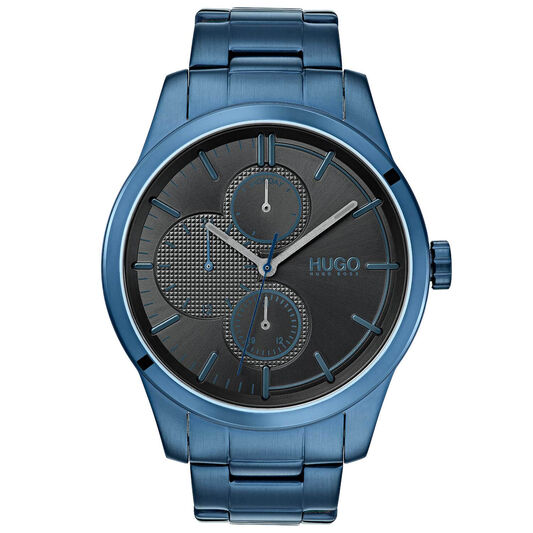 HUGO Men's #DISCOVER Blue Plated Watch