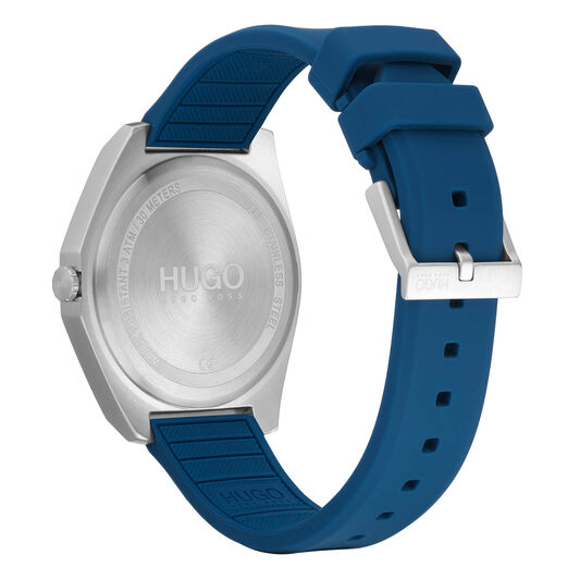 HUGO Men's #ACT Blue Silicone Watch