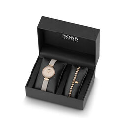 BOSS Ladies Nude Leather Watch and Bracelet Gift Set
