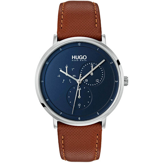 HUGO Men's #GUIDE Brown Leather Watch