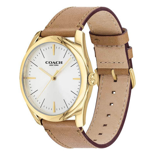 Coach Men's Modern Luxury Camel Calfskin Watch