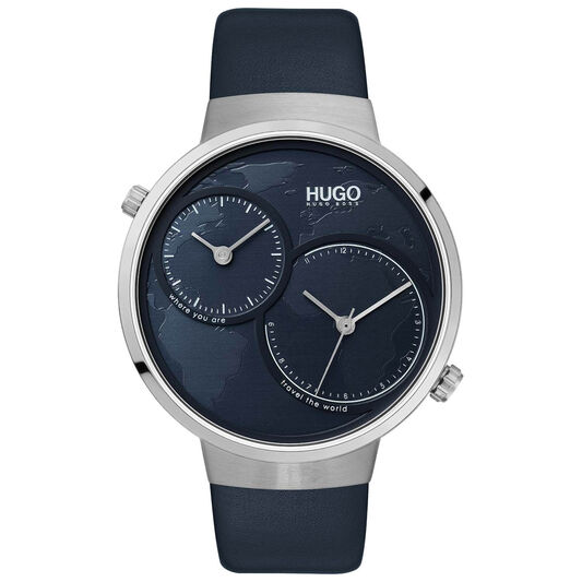HUGO Men's #TRAVEL Blue Leather Watch