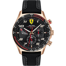 Scuderia Ferrari Men's Pilota Evo Black Leather & Black Silicone Watch