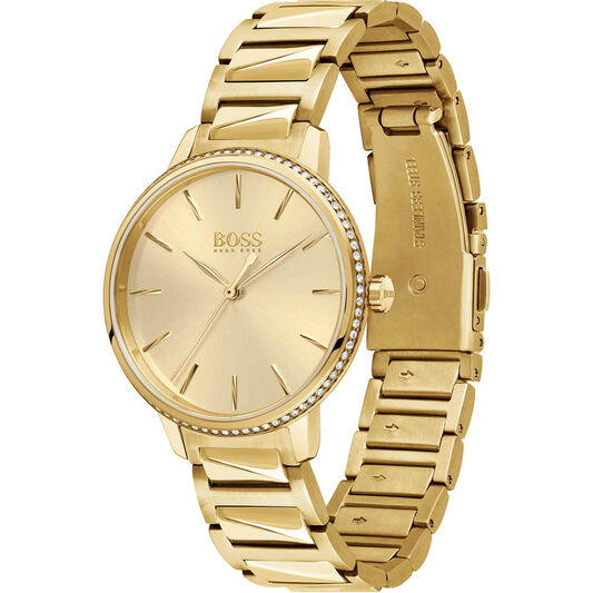 BOSS Ladies Signature Gold Plated Watch