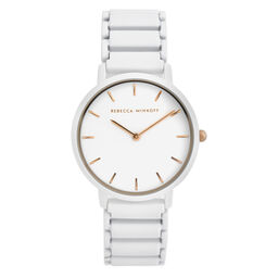 Rebecca Minkoff Ladies Major Stainless Steel & Matte White Watch