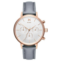 MVMT Ladies Bloom Grey Leather Watch