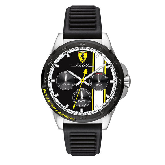 Scuderia Ferrari Men's Pilota Black Silicone Watch