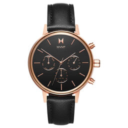 MVMT Ladies Nova Black Leather Watch