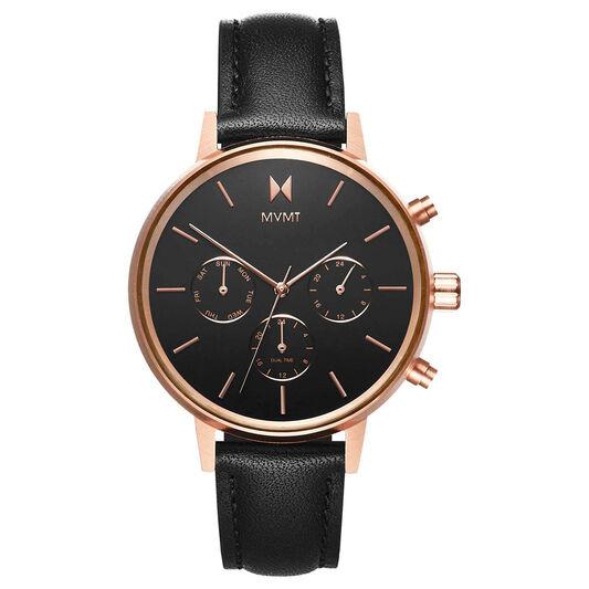 MVMT Ladies Nova Black Leather Watch