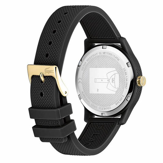 Lacoste Ladies Lacoste.12.12 Black Silicone Watch