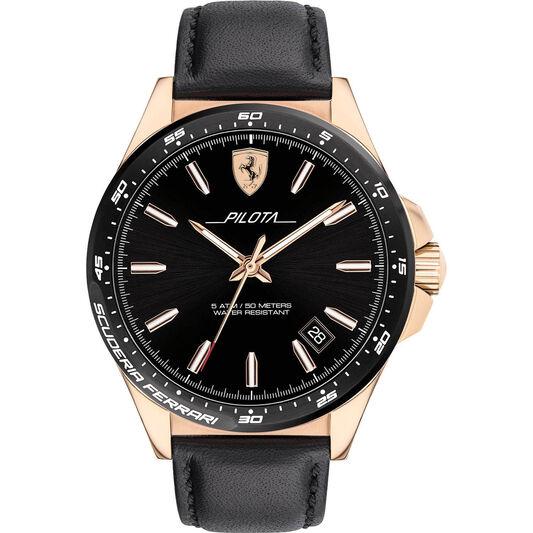 Scuderia Ferrari Men's Pilota Black Leather Watch