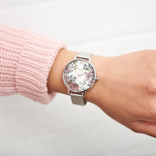 British Blooms Silver Mesh Watch