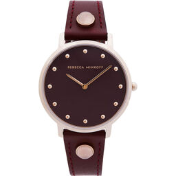 Rebecca Minkoff Ladies Major Bordeaux Leather Watch