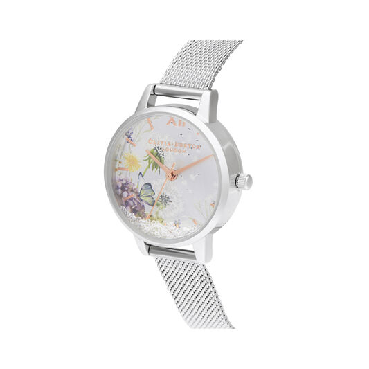Wishing Watch Silver Sunray, Rose Gold & Silver Mesh