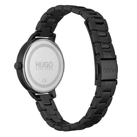 HUGO Ladies #ACHIEVE Black Plated Watch