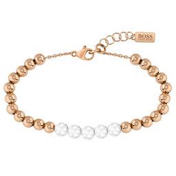 BOSS Ladies Beads Collection Carnation Gold & Metal Bracelet