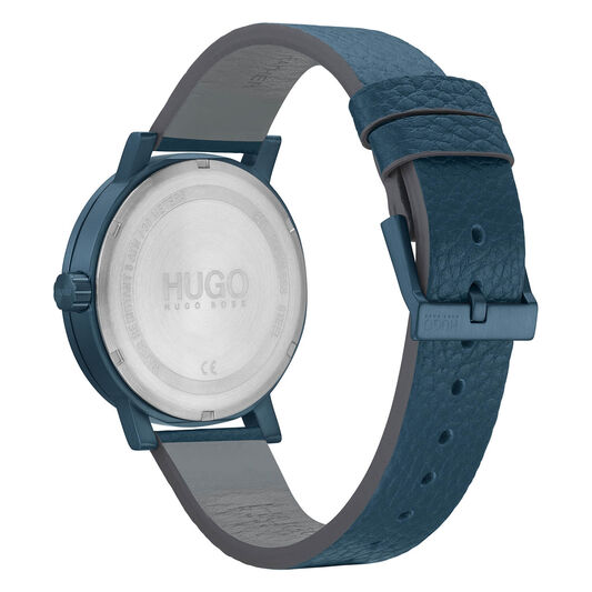 HUGO Men's #RASE Blue Leather Watch