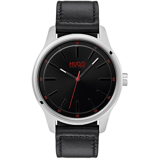 HUGO Men's #DARE Black Leather Watch