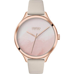 HUGO Ladies #Smash Grey Leather Watch