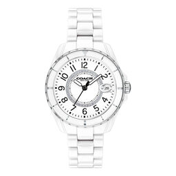 Coach Ladies Preston White Ceramic Watch