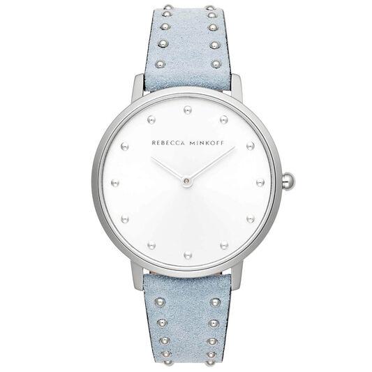 Rebecca Minkoff Ladies Major Blue Suede Leather Watch
