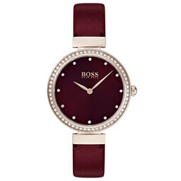 BOSS Ladies Celebration Bordeaux Leather Watch
