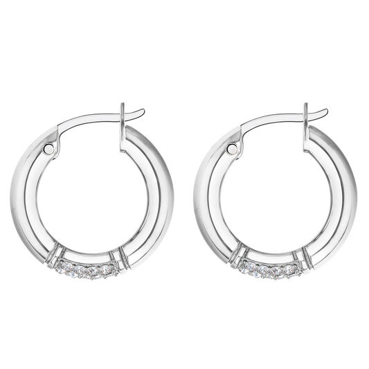 Tommy Hilfiger Ladies Silver Crystal Earrings