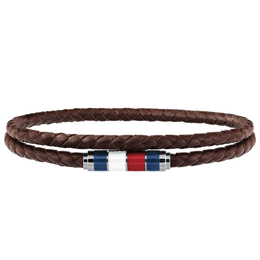 Tommy Hilfiger Men's Brown Double Wrap Bracelet