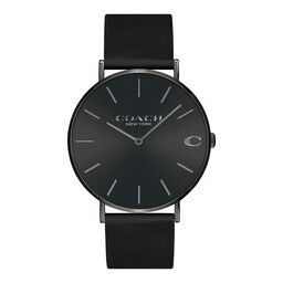 Coach Men's Charles Black Calfskin Watch