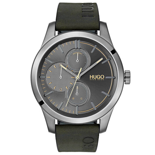 HUGO Men's #DISCOVER Green Leather Watch