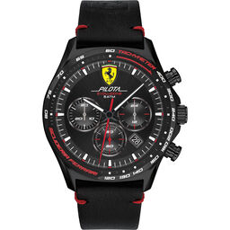Scuderia Ferrari Men's Pilota Evo Black Leather Watch