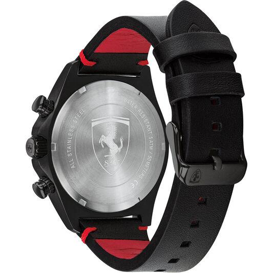 Scuderia Ferrari Men's Pilota Evo Black Leather Watch
