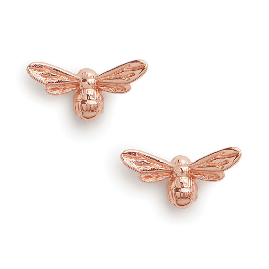 Lucky Bee Stud Earrings Rose Gold