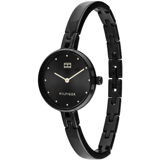 Tommy Hilfiger Ladies Black Plated Watch