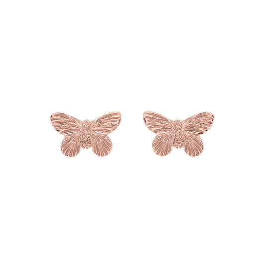 3D Butterfly Rose Gold Studs