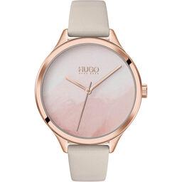 HUGO Ladies #Smash Grey Leather Watch