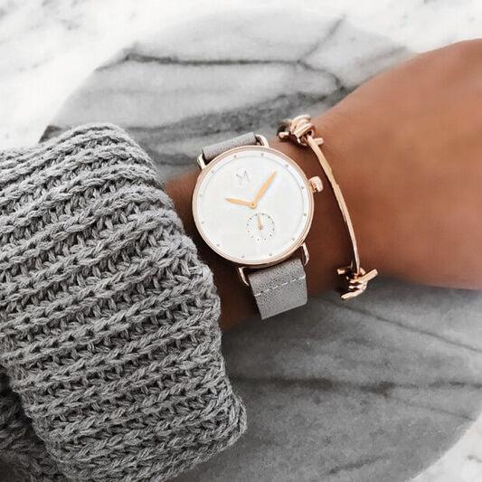 MVMT Ladies Bloom Grey Leather Watch