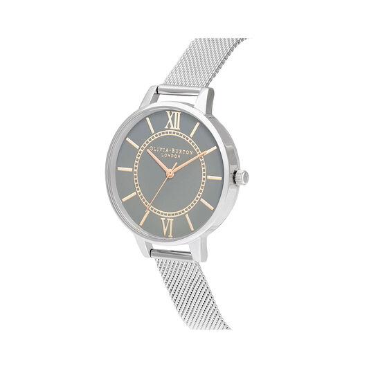 Wonderland Grey Dial, Rose Gold & Silver Mesh Watch
