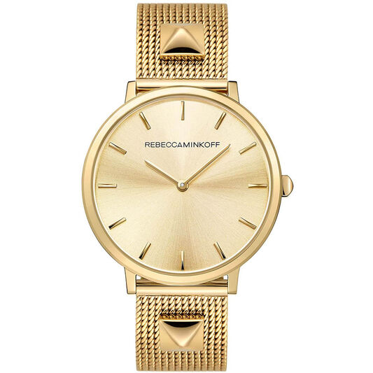 Rebecca Minkoff Ladies Gold Plated Studded Mesh Watch