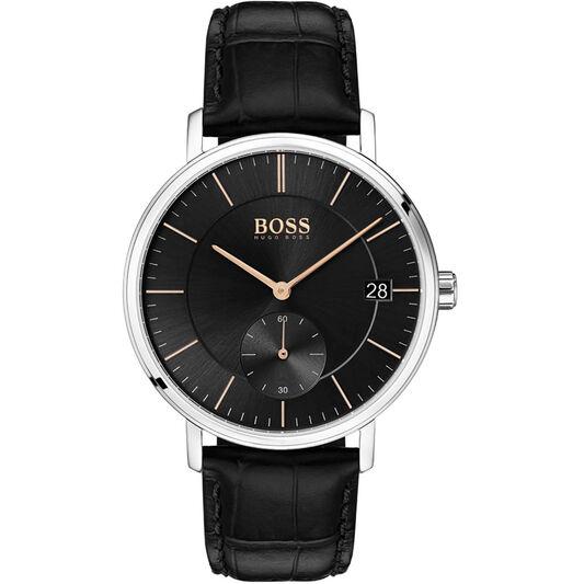 BOSS Men's Corporal Black Leather Watch