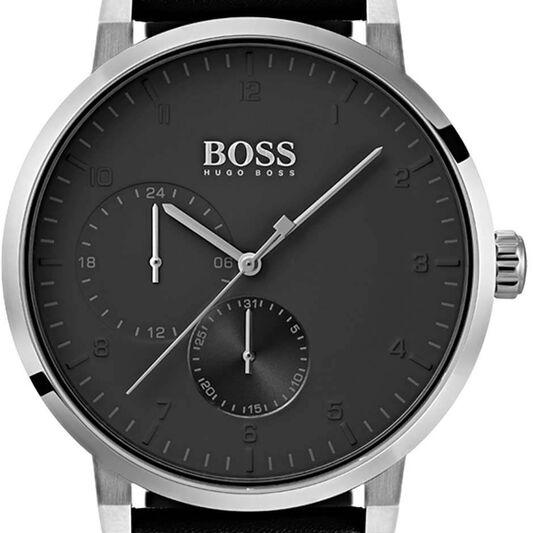 BOSS Men's Oxygen Black Calfskin Watch