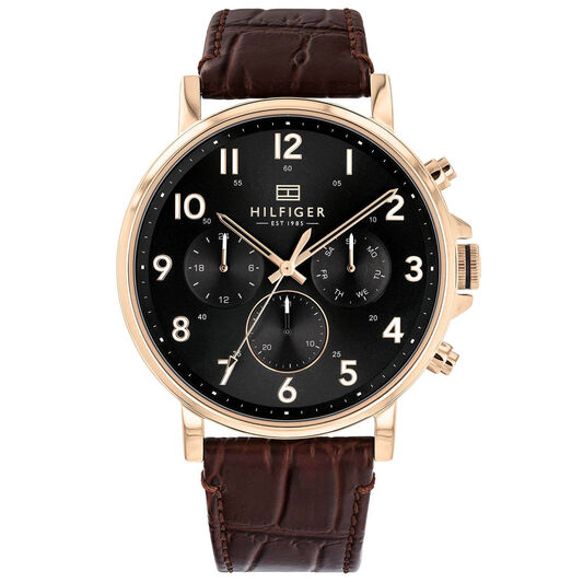 Tommy Hilfiger Men's Dark Brown Leather Watch
