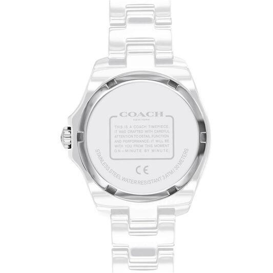 Coach Ladies Preston White Ceramic Watch