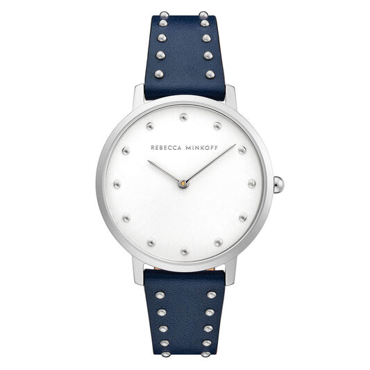 Rebecca Minkoff Ladies Major Twilight Leather With Studs Watch
