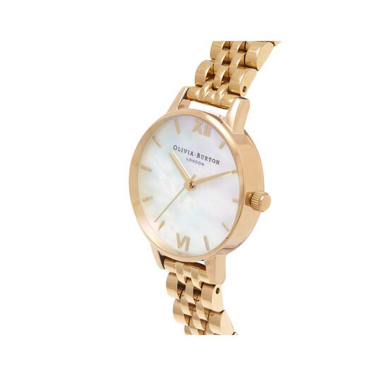 Mother of Pearl Gold Bracelet Watch