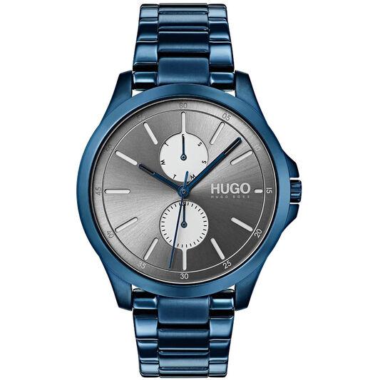 HUGO Men's #JUMP Dark Blue Plated Watch