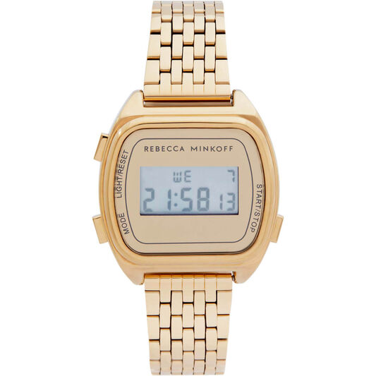 Rebecca Minkoff Ladies Digital Gold Plated Watch