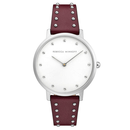 Rebecca Minkoff Ladies Major Bordeaux Leather With Studs Watch