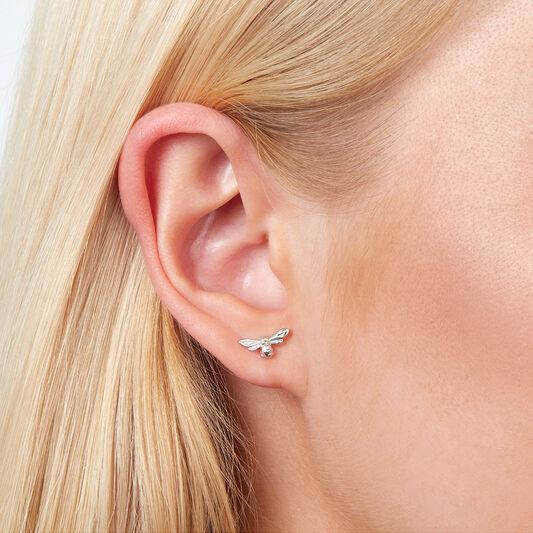 Lucky Bee Stud Earrings Silver