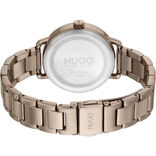 HUGO Ladies #Mellow Beige Gold Plated Watch
